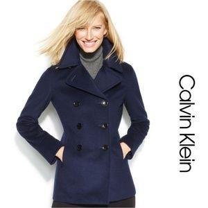 NWOT Calvin Klein Blue Wool Blend Pea Coat Size 6